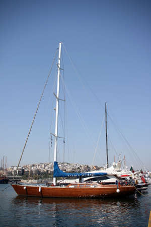 starboard: luxurius wooden sailing yacht at marina