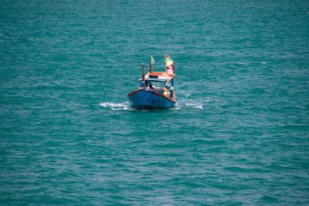 sailling: thai fishing boat sailling at koh chang island Stock Photo