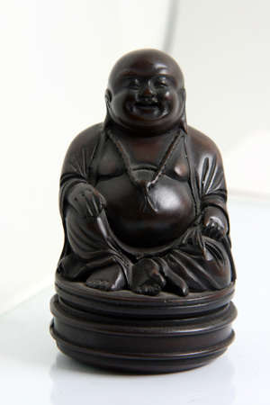 buddha wooden decoration small statue handcrafted objects photo
