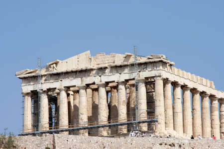 tourists at parthenon athens greece photo