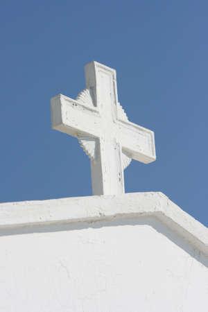 white cross detail from profitis helias church dome athens greece Stock Photo