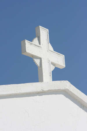 white cross detail from profitis helias church dome athens greece Stock Photo