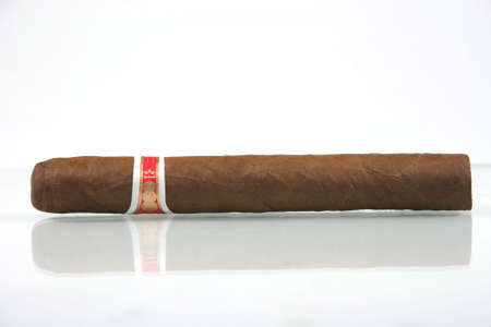 one cuban cigar with reflection in white background photo