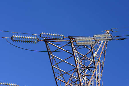 合計青空に電気柱ケーブルからの詳細 写真素材