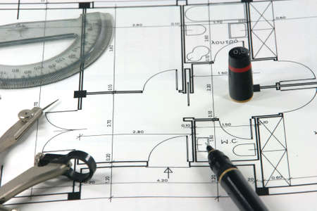 home design architechture and engineering buliding plans and design tools Stock Photo