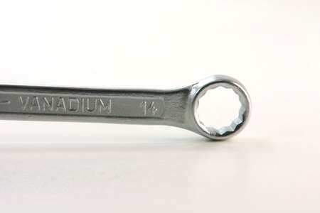 chrom: Spanner wrench tools hardware detail in white background industies concepts