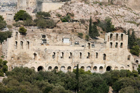 ancient herodion theatre under parthenon, landmarks of athens greece  photo