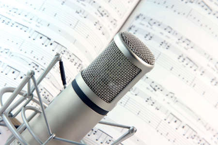 lyics background and music recording microphone studio tools Stock Photo