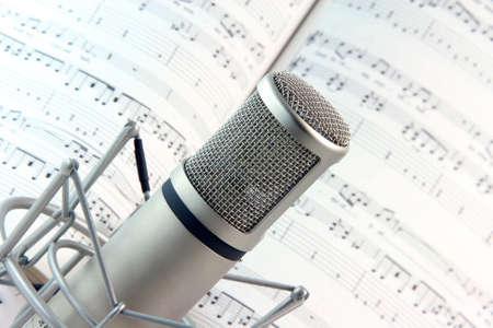 lyics background and music recording microphone studio tools Foto de archivo
