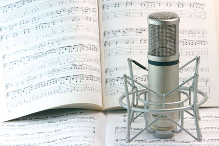 sound recording: notes background and music recording microphone studio tools Stock Photo