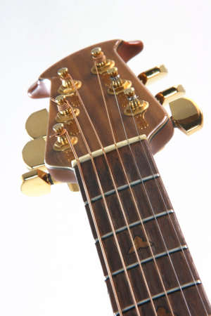 music instruments guitar detail strings on white background