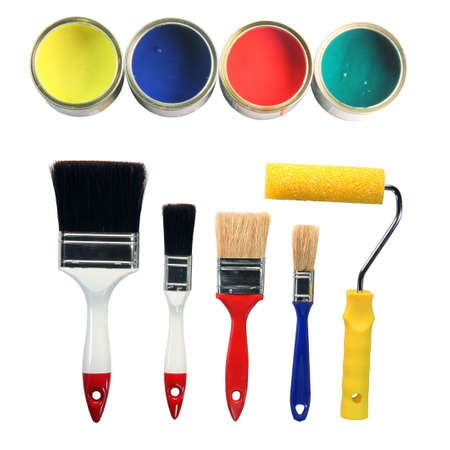 four color cans and four paint brushes and paint roll totaly isolated on white background hardware tools