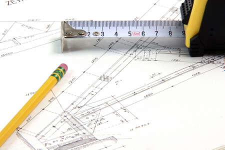 construction designs with pencil and meter tape architecture and building industry Stock Photo
