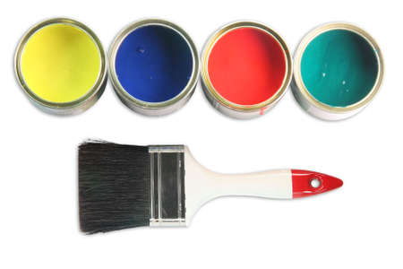 white  paint brush and four open paint cans on white background