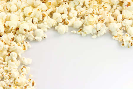 border from pop corn closeup with copy space  food and entertainment conceps