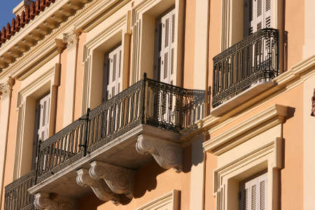 neoclassic: front view of noeclassical building on sunset architecture backgrounds