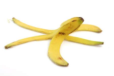 peel of banana isolated on white background dangerous cocepts Foto de archivo