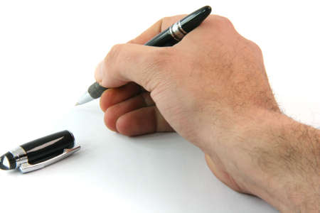 writting with black ballpen isolated on white background business concepts