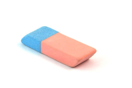 flaw: eraser stationary items perspective isolated on white background