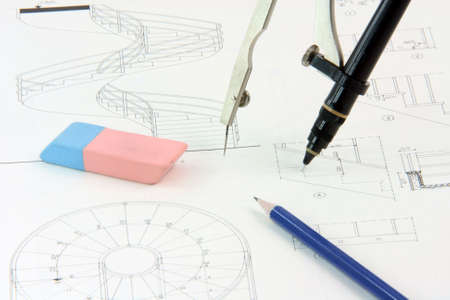 desing: architecture designs background and desing tools compass with rapidograph detail eraser and pencil