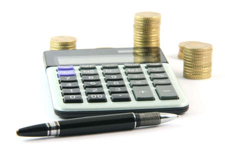 calculator pen and money isolated on white background business and finance concepts