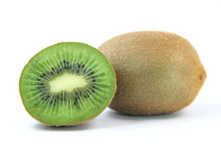 hole and half kiwi fruit isolated on white background healthy eating and agriculture concepts