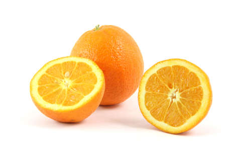 pices: one and half pices of orange isolated on white background