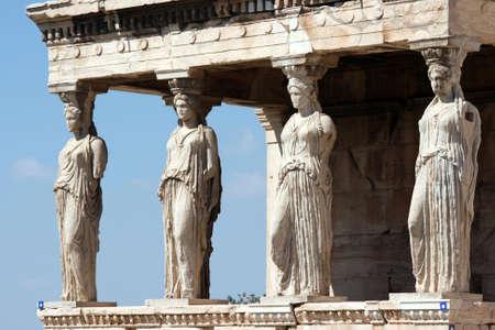 caryatids at Erechtheum of Parthenon in Athens Greece