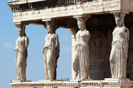 caryatids at Erechtheum of Parthenon in Athens Greece