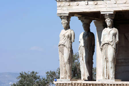 caryatids: caryatids and nature at Erechtheum on Parthenon in Athens, Greece