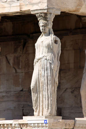 one caryatid at temple of Erechtheum on acropolis of Athens Greece