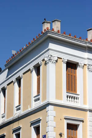 neoclassic: detail from neoclassic house in athens greece architecture concepts