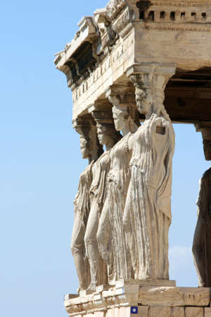 caryatids: The Porch of the Maidens at Erechtheum on Parthenon in Athens, Greece. c 5th century BC
