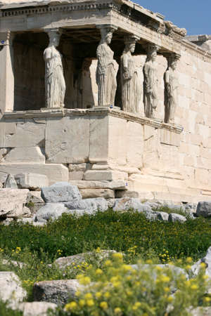 caryatids: spring flowers at  temple of Erechtheum on acropolis of Athens Greece
