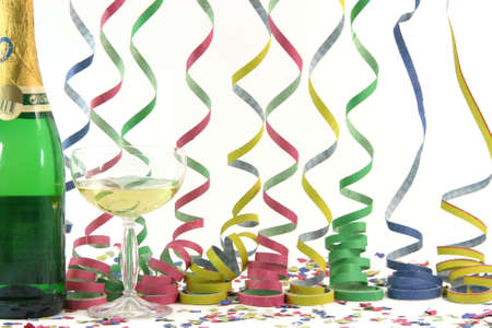 champagne streamers confetti celebration and holidays concepts horizontal