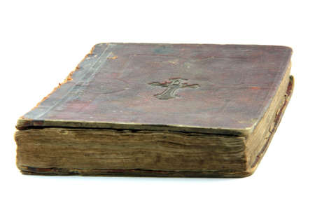 old bible isolated on white background religious concepts