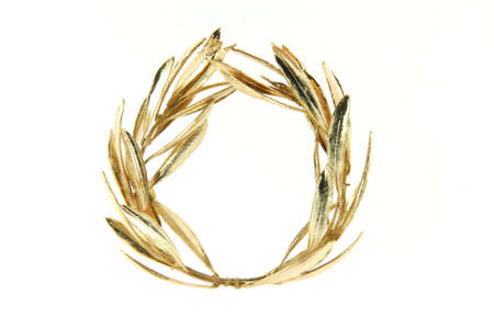 gold winner olive tree wreath for olympic games winners isolated on white background Stock Photo