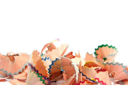 sharpened: multicolor pencils wood shavings isolated on white background education concepts with copy space Stock Photo