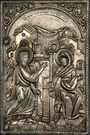 announced: greek byzantine silver icon religius concepts Virgin Mary announcedÊby the angel that is going to birth the sun of god
