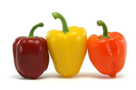 three color peppers isolated on white background food and vegetables concepts photo