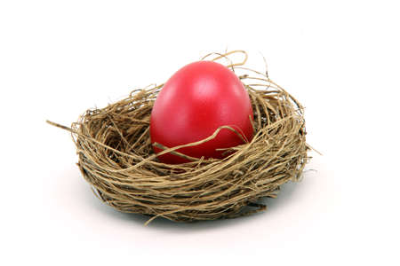 red easter egg in a nest isolated on white background seasonal