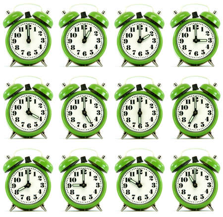 classic small alarm clock twelve hours isolated on white background multiple image