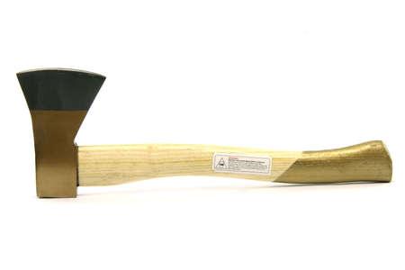 lumberjack tools hand axe isolated on white background photo