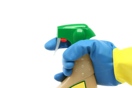housekeeping and cleaning concepts hand with glove and sprayer isolated on white background