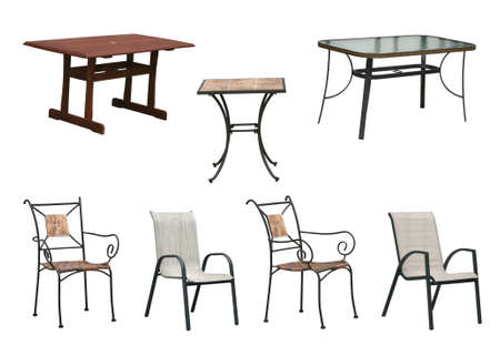 seasonal furniture outdoor tables and chairs isolated on white background with clipping paths