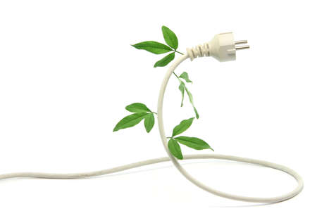 disconnection: green energy ecological concepts power plug and cable with green leaves isolated