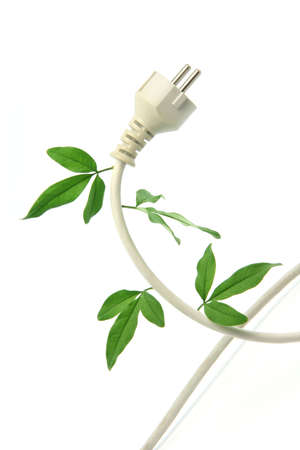green energy ecological concepts power plug and cable with green leaves isolated