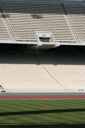 detail from athens olympic stadium filed and tiers gate ten photo