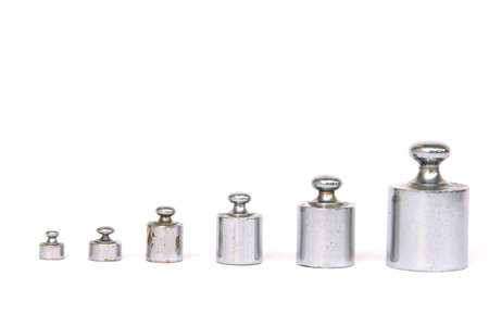 balance weight units in a row isolated on white background with copy space