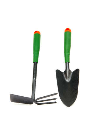 hoe: gardening tools shovel and weeder hoe isolated on white background